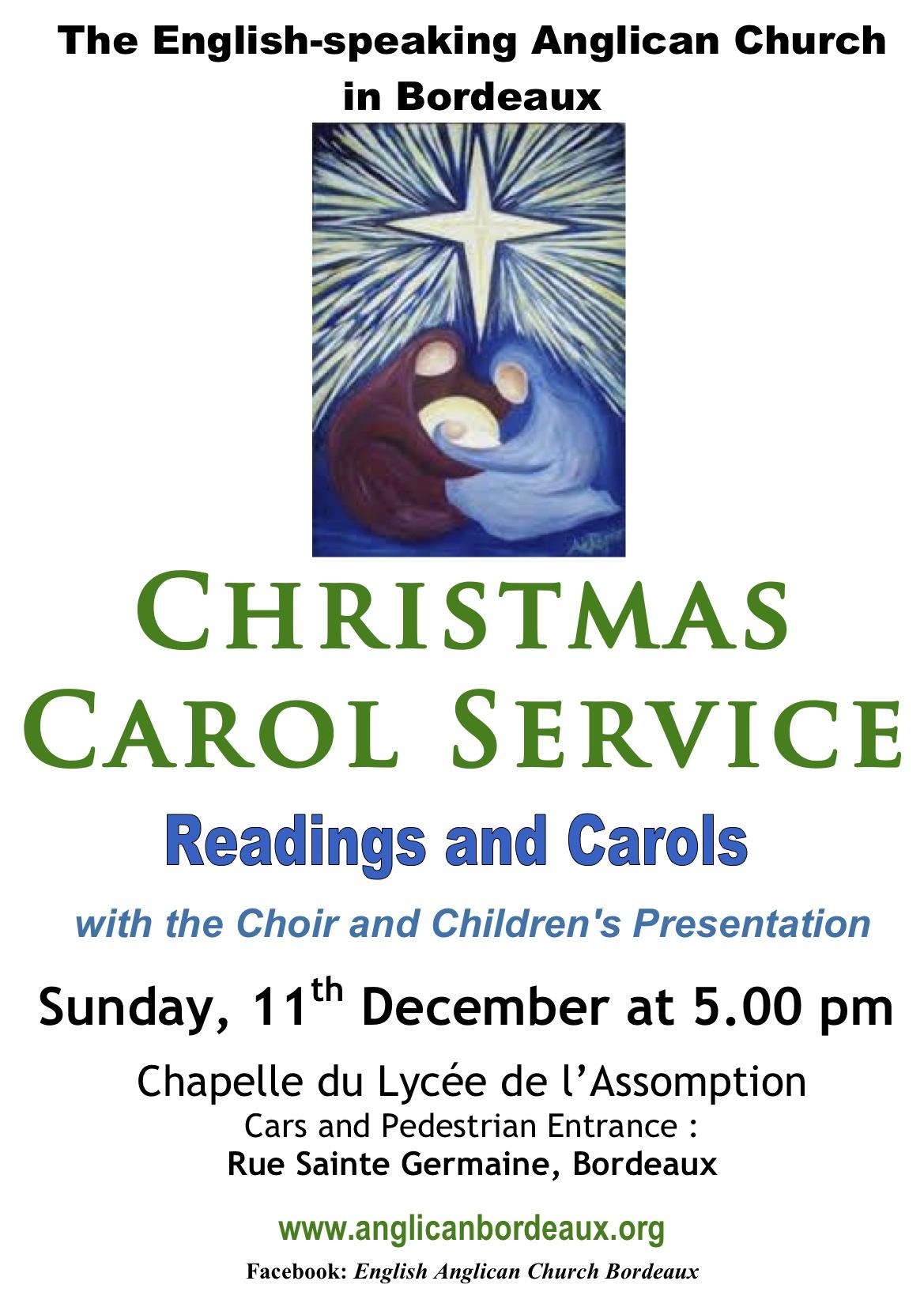 christmas carol service sunday 11th december at 1700
