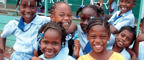 Happy students at St. Mary's Preparatory School