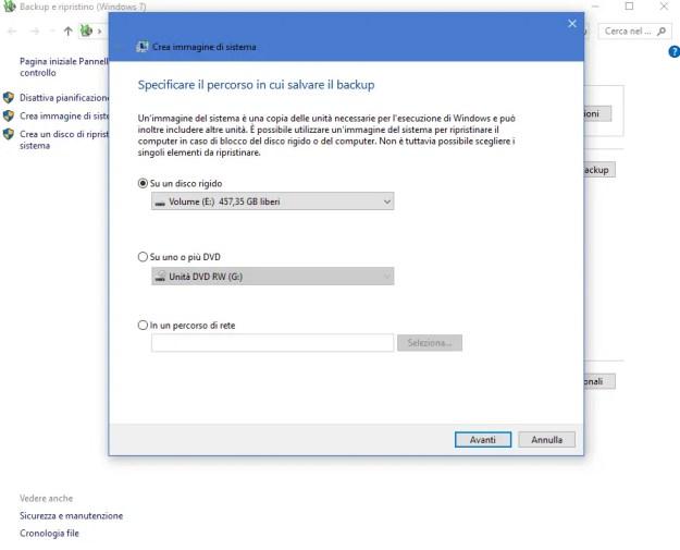 bck03 - Come creare un immagine di sistema in Windows 10