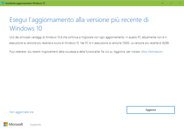AssAggw10 - Come aggiornare a Windows 10 April 2018 Update?