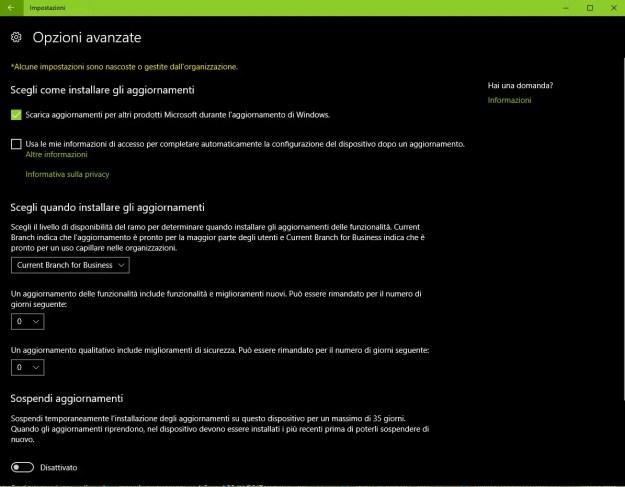 fcu update - Come ritardare l'installazione di Windows 10 October Update?
