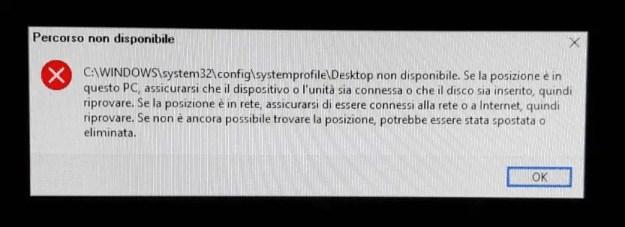 desktopNonDisponibile 1 - FIX: Percorso Desktop non disponibile dopo aggiornamento alla versione 1803