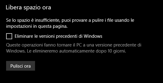 freespacenow - Come liberare spazio dopo l'installazione di Windows 10 April 2018 Update?