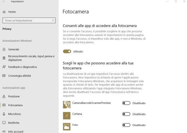 webcam accesso - Windows 10 April 2018 Update: principali problemi riscontrati e le loro soluzioni