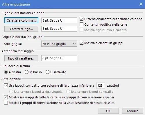 dimensOutl - Come ridimensionare caratteri nella posta in arrivo di Outlook