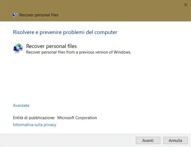 recoverfileMS - Come recuperare i dati dopo l'aggiornamento 1809