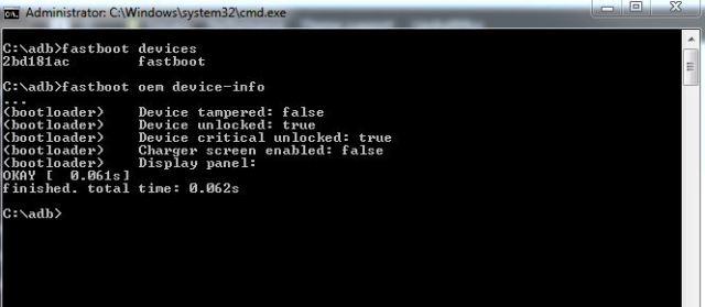 Το δικό μου έχει ήδη ξεκλειδωμενο Bootloader, εξού και το Device Unlocked : True