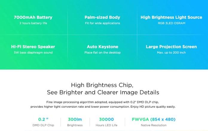 Alfawise HDP300 DLP Mini Projector brightnesss