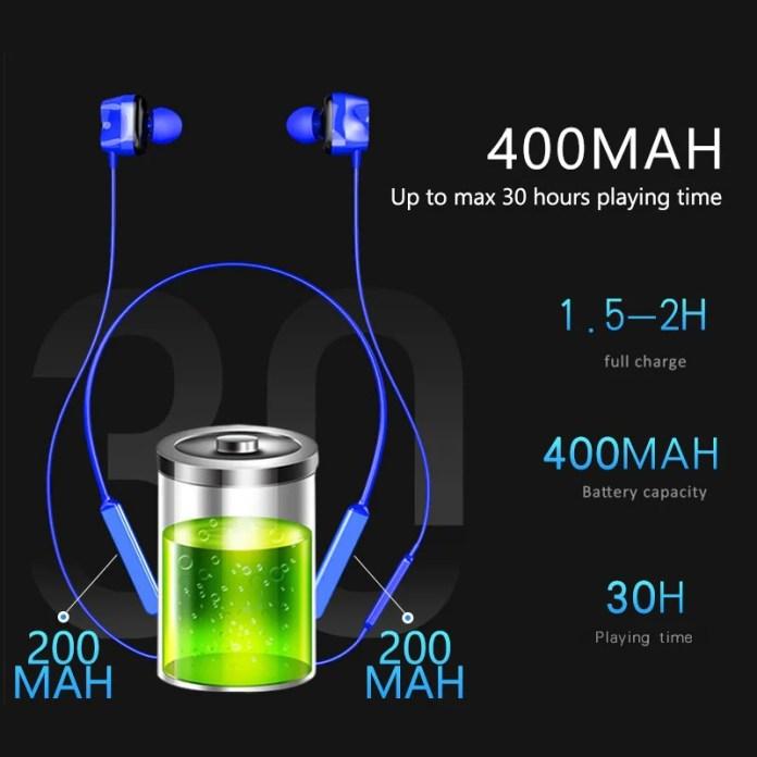 Tourya S7 Wireless Sport earphones Bluetooth 5.0 battery