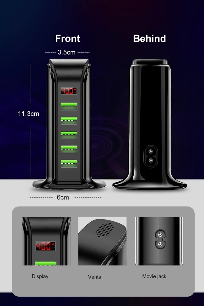 Udyr 5 Ports USB Smart Charger size
