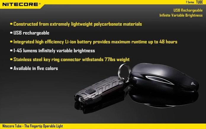 Nitecore TUBE LED Keychain Light specs