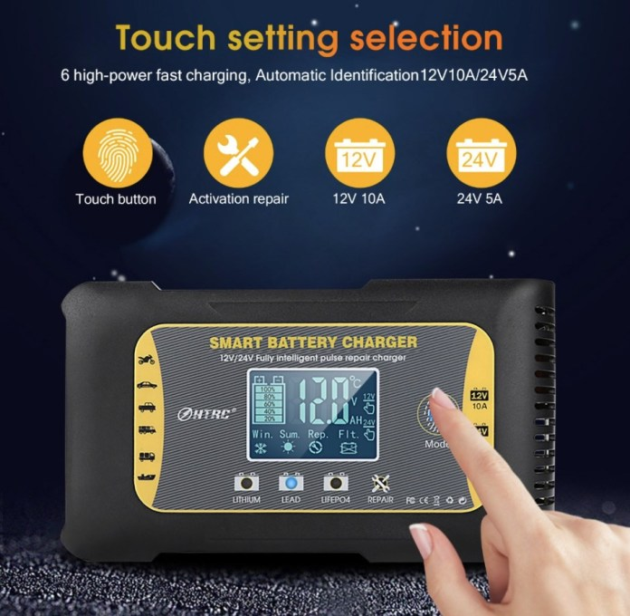 HTRC 12V-24V 10A-5A 7-Stage Touch Screen Pulse Repair LCD Battery Charger 2