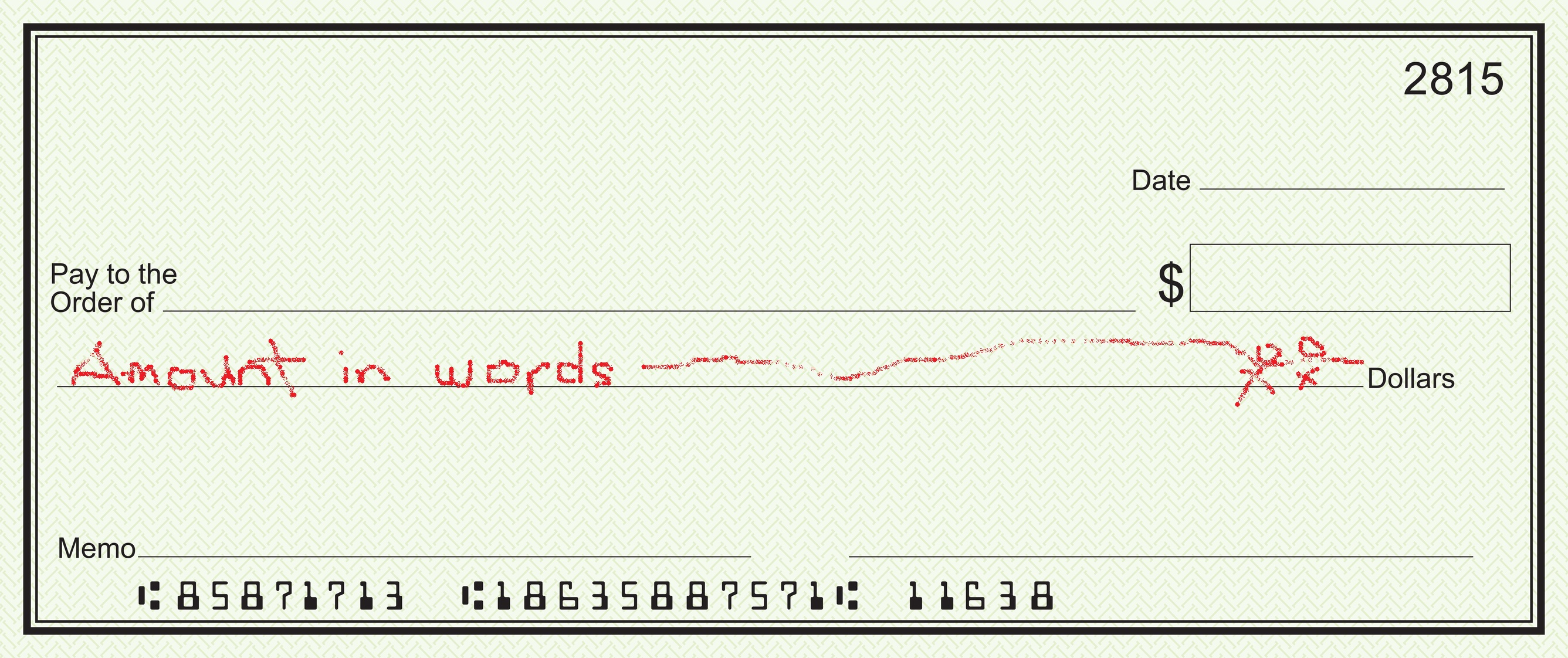 how to write amount in words in cheque definition