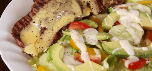 Steak in Bearnaise Sauce and Avocado Lettuce Salad