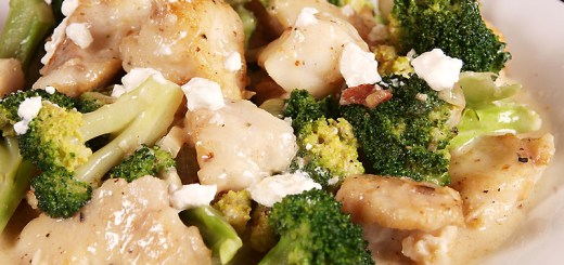 Monk Fish and Broccoli in Creamy Onion and Bacon Sauce