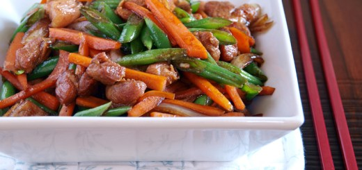 Stir Fried French Beans, Carrots and Pork