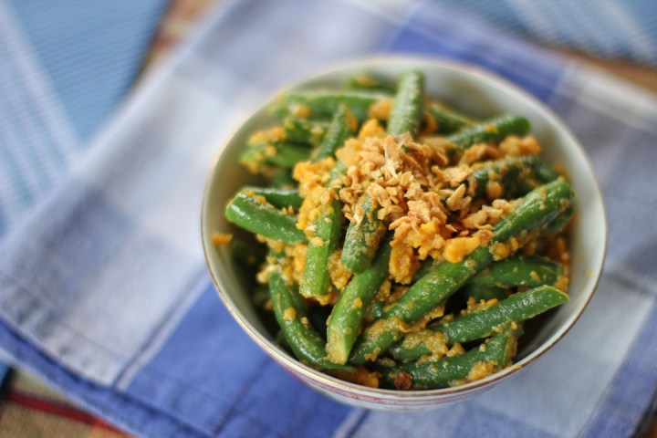 French Beans and Salted Duck Egg Yolks 1