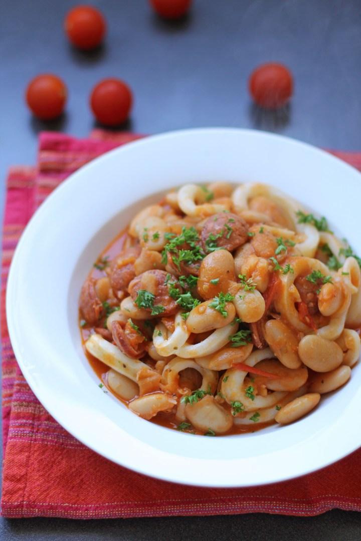 Sauté of Calamari, Chorizo, Butterbeans