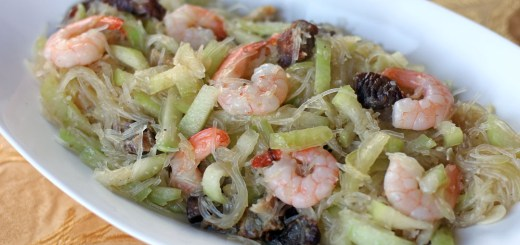 Stir Fried Hairy Gourd, Mungbean Vermicelli and Shrimps 1
