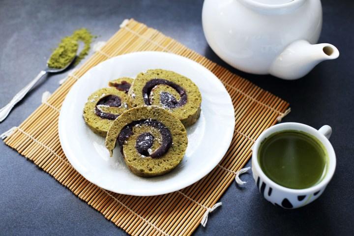 Matcha and Adzuki Bean Roll Cake Wide