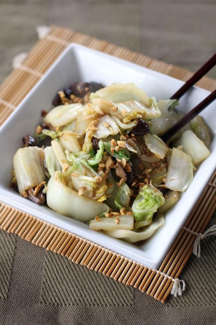 Stir Fried Chinese Cabbage and Shiitake Mushrooms