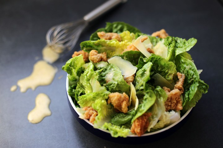 Ceasar Salad with Popcorn Chicken Wide