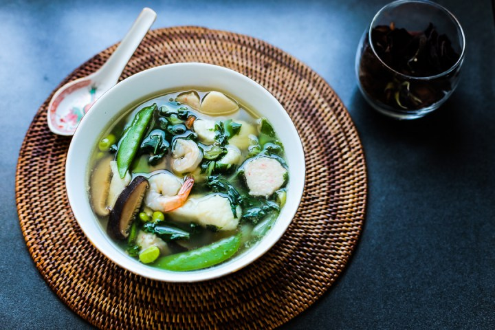 Fish, Prawn and Vegetable Soup Wide