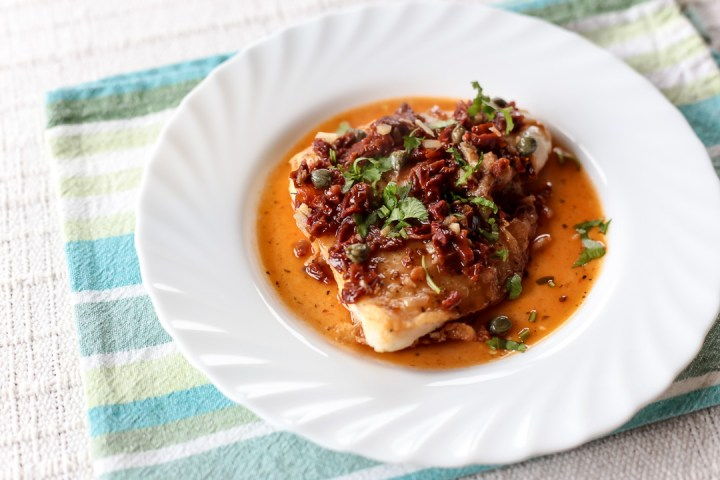 Pan Fried Fish Fillets with Sun-dried Tomato-Caper Sauce Wide