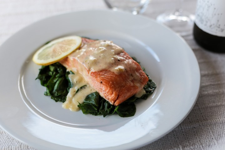 Salmon and Wilted Spinach with Cream Sauce Wide