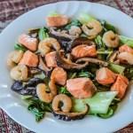 Bok Choy, Shrimp and Salmon Stir Fry 2