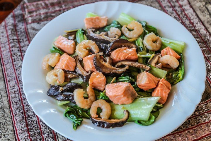Bok Choy, Shrimp and Salmon Stir Fry Wide