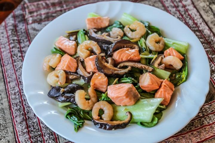 Bok Choy, Shrimp and Salmon Stir Fry Wide