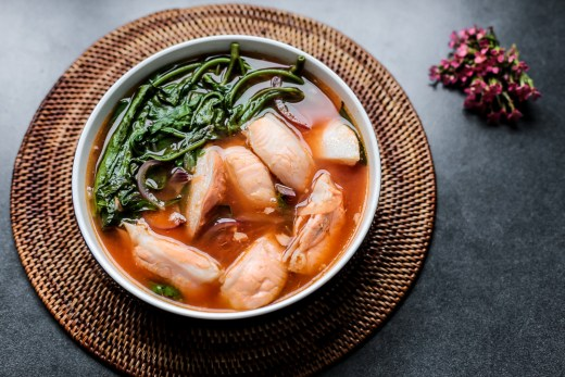 Spicy Salmon Belly and Kangkong Soup 1