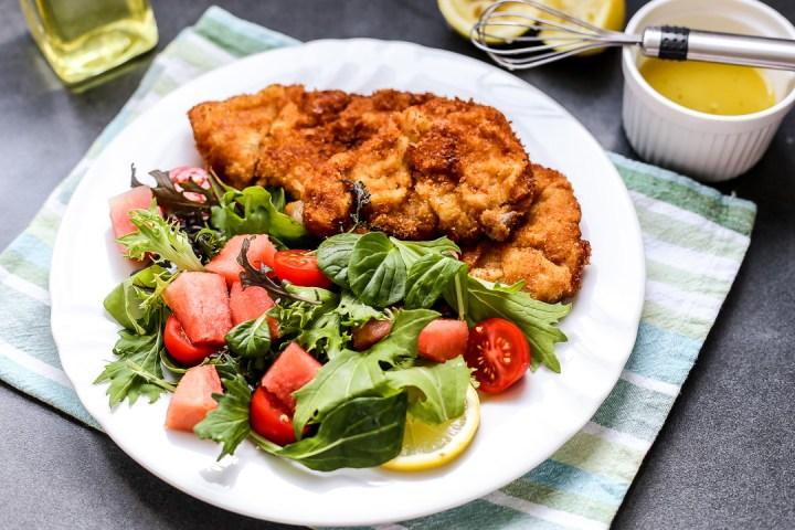 Pork Tonkatsu with Watermelon Tomato Salad Wide