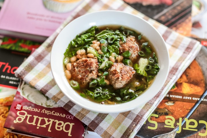 White Bean Soup with Meatballs and Bok Choy Wide