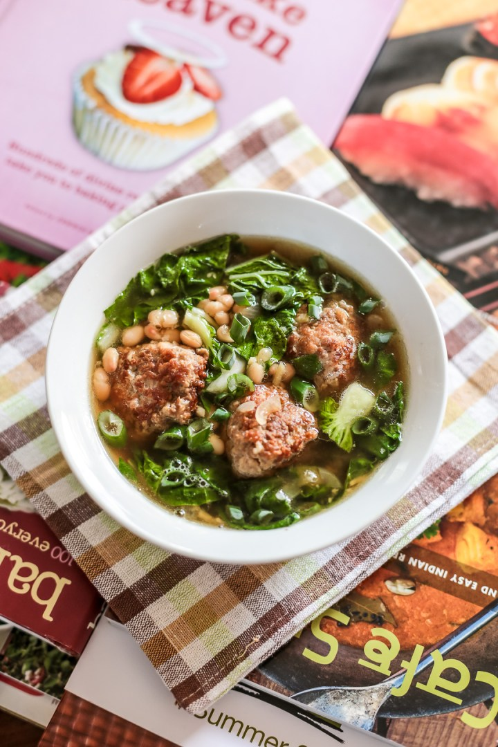 White Bean Soup with Meatballs and Bok Choy