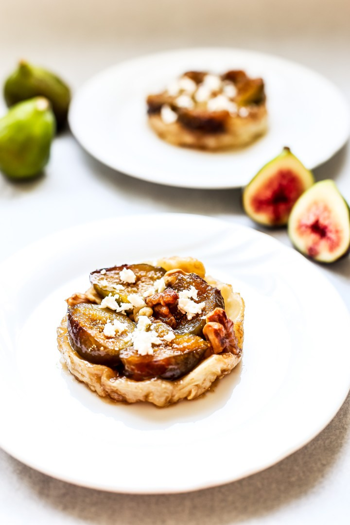 Fig, Walnut and Goats Cheese Feta Tarte Tatin