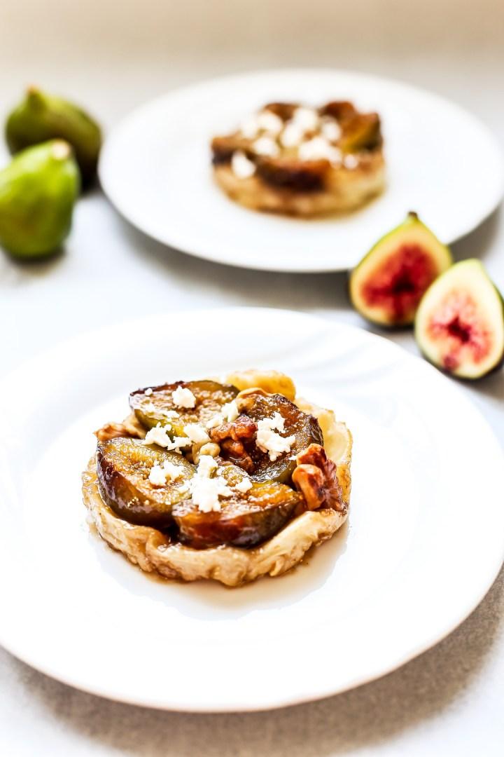 Fig, Walnut and Goats Cheese Feta Tarte Tatin