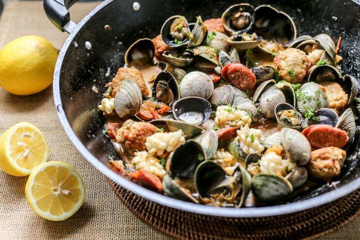 Spanish Meatballs with Clams, Chorizo & Squid Wide
