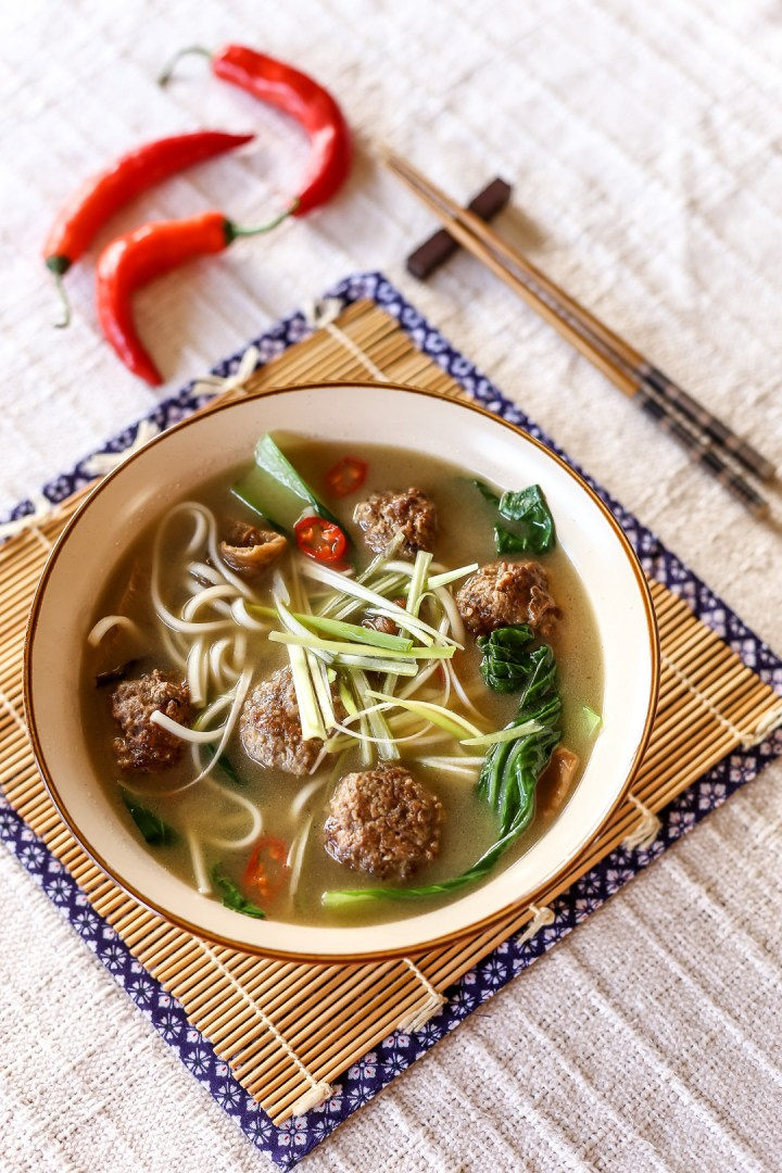 Spicy Meatball Udon Soup