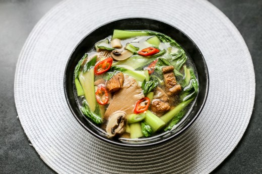Hot and Sour Mushroom Soup with Bok Choy 1