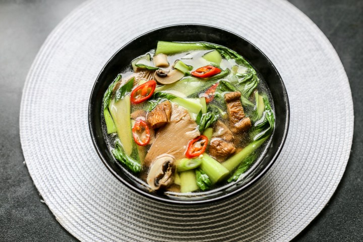 Hot and Sour Mushroom Soup with Bok Choy Wide