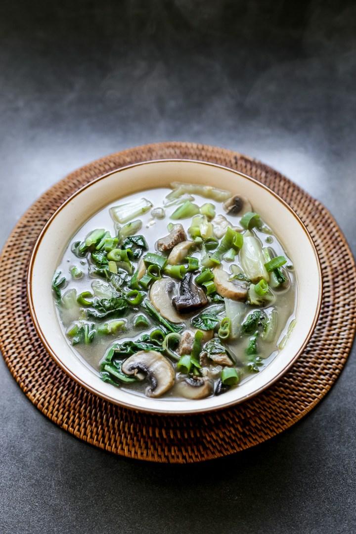 Silverbeet and Mushroom Soup
