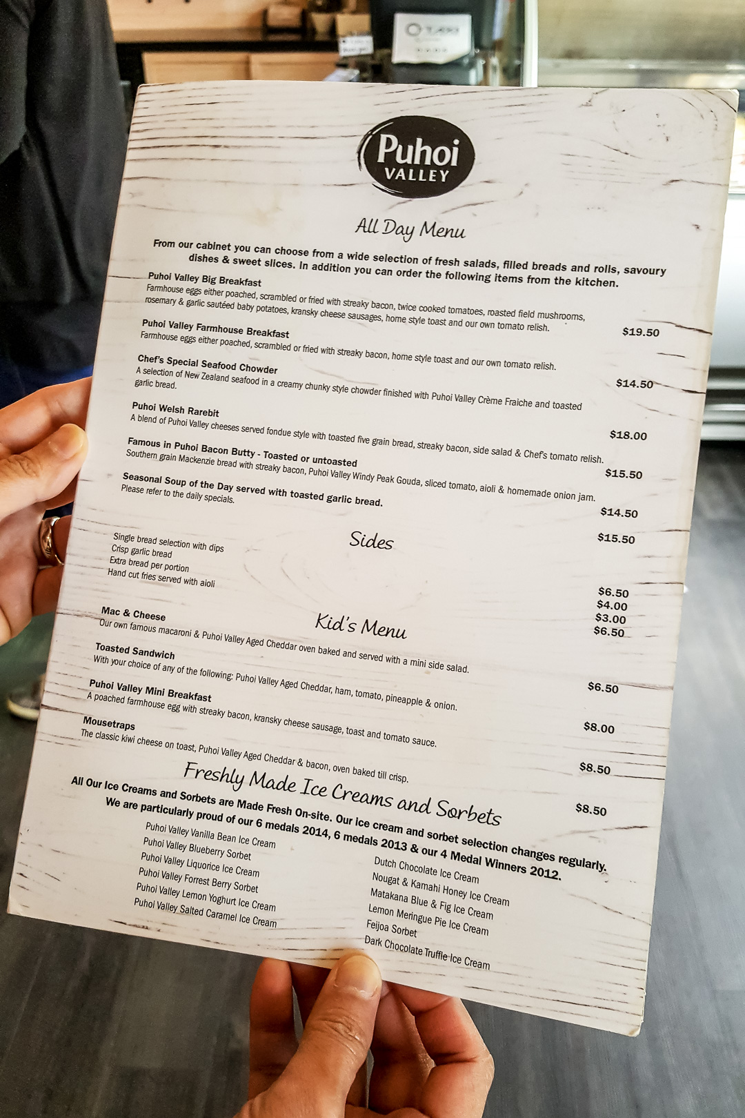 Farmhouse Cafe Menu