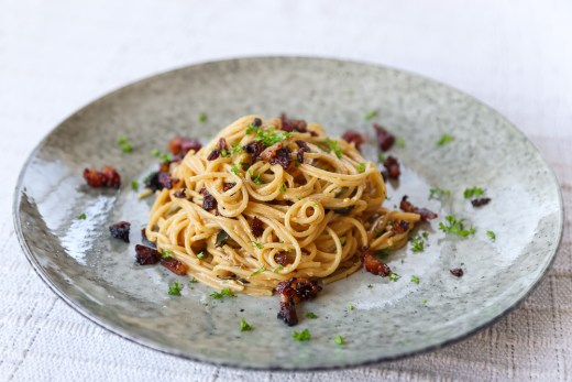Salted Duck Egg and Bacon Pasta 1
