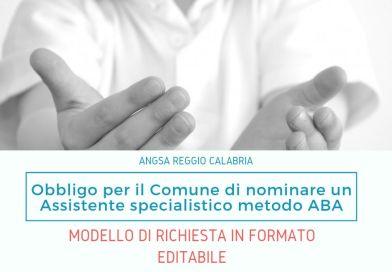 """Modello/Format per la richiesta della figura dell'Assistente Educativo """"Formato ABA""""."""
