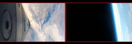 Une seconde caméra montre une ligne blanche qui est dite être le bord du dôme en verre