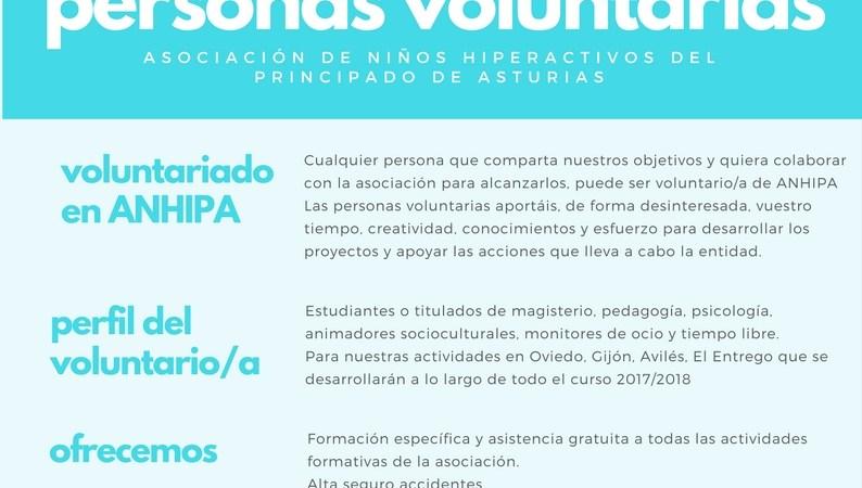 ANHIPA busca  personas voluntarias para sus actividades para el curso 17/18