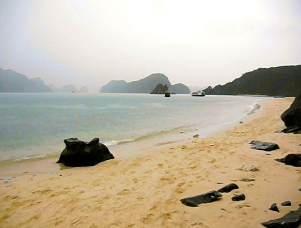 Monkey island beach in Halong Bay.