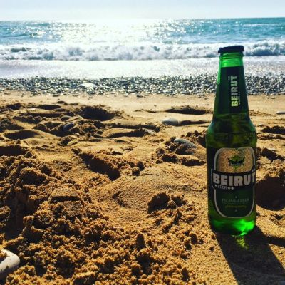 Enjoying a Beirut beer in Byblos beach. Life could not get better than this!